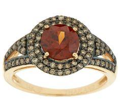 Cognac Zircon & Champagne Diamond Ring 14K Gold, 1.25 cts