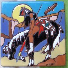 KRIT American Indian tile beautiful colors and detail hang on wall or use at trivet great gift idea vintage art tile great for gift giving