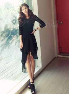 Shop High Quality Black Handsome Swallow Tail  Dress At Dressve.Com, And The Price Is Low Only At US$15.99