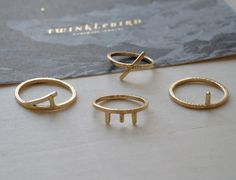 Ring typographic 14K solid gold