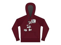 Ever popular Attack Kittens design in a new Maroon hoodie with Charcoal Interior. We love this new colour!