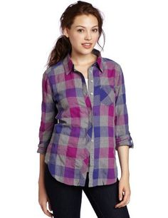 C California Women's Plaid Button Down Woven Shirt C & C California. $59.00. Machine Wash. Made in China. 99% Cotton/1% Spandex. Long sleeve. Roll sleeve. Front one pocket detail