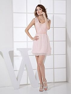 Chiffon Mini Homecoming Dress with Sheer Straps and Low Cut Back - USD $91.00