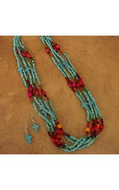 Turquoise Crosses and Red, Orange, Green and Pink Beaded Necklace Jewelry Set
