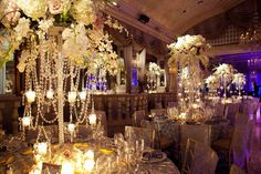 Exquisite Ballroom Reception    Photography: Images by Berit, Inc.   Read More:  http://www.insideweddings.com/weddings/luxurious-summer-wedding-at-the-pierre-new-york/378/