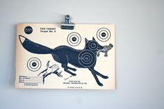vintage paper shooting target: fox. $10.00, via Etsy.