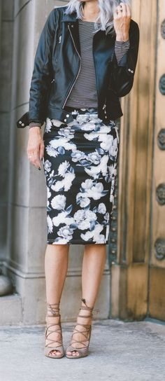 what to wear with a moto jacket : stripped top + floral pencil skirt + heels