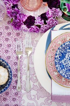 Lavender and blue table scape.