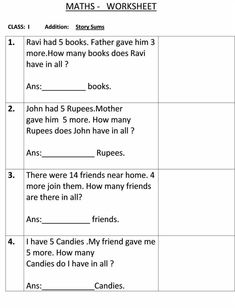Story sum - Class 1 Maths Worksheet Math Practice Worksheets, First Grade Math Worksheets, 1st Grade Math, Addition Worksheets, Number Worksheets, Alphabet Worksheets, Class 1 Maths, Worksheet For Class 2, Math Olympiad