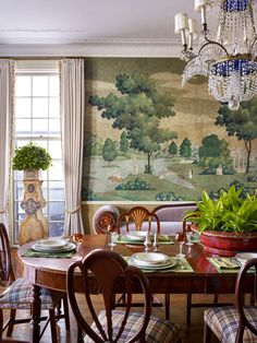 Dining Room Wallpaper, Dining Room Walls, Dining Room Design, Dining Area, Georgian Interiors, Cottage Interiors, Scenic Wallpaper, Shabby Chic Cottage, New Room