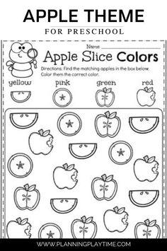 Apple Slice Matching and Coloring Worksheet: Preschool