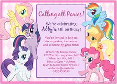 My Little Pony themed birthday invitation & thank you card by Night Owl Custom Design on Etsy, $15.00