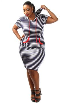 This casual plus size dress has a stripe body, hooded top and front mid pocket. Soft, stretch material 95% Rayon 5% Spandex Model wearing 3X Made in USA