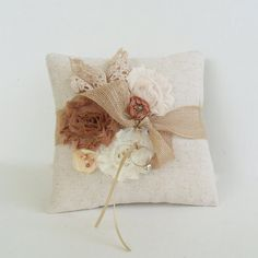 Country Chic wedding ring pillow rustic ring bearer by PaperFlora