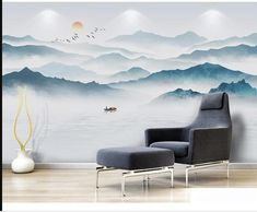 Hand Painted Mountains with Lake Scenic Landscape Wallpaper Wall Mural, Fog Monring Mountains with Flying Birds Wall Mural Home Decor Hand bemalt Berge mit See Szene Landschaft Tapete Wandbild Sunrise Wallpaper, Mountain Wallpaper, Nursery Wallpaper, Mountain Mural, Mountain Paintings, Landscape Walls, Landscape Wallpaper, Waterfall Wallpaper, Modern Wallpaper Designs
