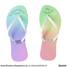 Shop Pastel Rainbow Asymmetric Quirky Flip Flops created by SlightlyOddWorld. Womens Flip Flops, Art For Kids, Art Pieces, Pastel, Rainbow, Sandals, Shopping, Art Kids, Cake