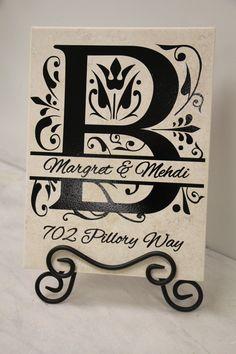 Last Name Initial Letter K Sign Split Letter Engraved Wood Sign