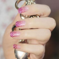 Glitter nail fade; love the color and how simple it is