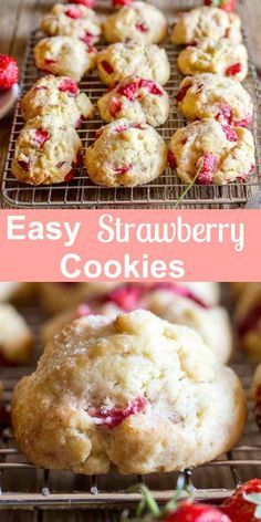 Easy Strawberry Cookies made with Fresh Strawberries and baked in 15 minutes. One bowl, no beaters necessary, soft, delicious cookies. The perfect summertime cookie recipe. Drizzle with melted chocolate and make them extra special. Easy Strawberry Desserts, Strawberry Dessert Recipes, Strawberry Cookies, Fruit Recipes, Sweet Recipes, Baking Recipes, Cookie Recipes, Recipes With Strawberries, Strawberry Muffins