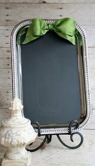 silver tray + chalkboard paint = menu board