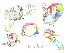 Circus Clown Pug Dog Card - Birthday Card, Funny Card or Pug Lovers Card from an Ink and Watercolor Painting by InkPug! on Etsy, $4.00