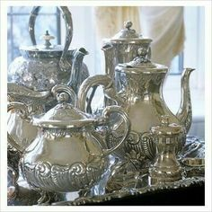 Please use your silver tea service. My silver tea service is divine to use and looks beautiful on the table. Silver Trays, Silver Spoons, Silver Plate, Vintage Tea, Vintage Silver, Antique Silver, Argent Antique, Silver Tea Set, Zinn