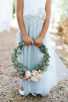 Eucalyptus flower girl wreath with blush and cream roses, fynbos.