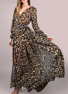 87d2e487233 Print Animal Print Long Sleeves Shift Maxi Casual Vacation Dresses  (199233848)