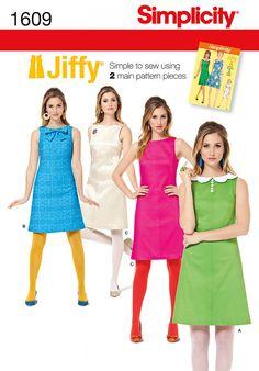 Simplicity 1609 Misses' Jiffy 1960's Vintage Dress Sewing Pattern