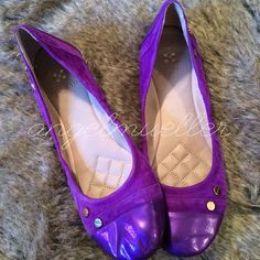 """Vince Camuto ballet flats Beautiful ballet flats. Soft velvet-like suede, patent leather toe caps. 4 gold rivets on each shoe. Length: 10.75"""", width: 3.25"""". Small scuffs, barely noticeable. Vince Camuto Shoes Flats & Loafers"""