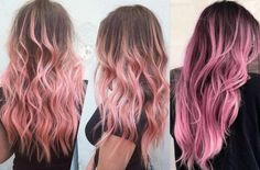 Easy to do Pink Hairstyles. Ideas for pastel pink hair. Pastel pink hair looks. Pastel Pink Hair, Hair Color Pink, Brown And Pink Hair, Pastel Colors, Brown Pink Ombre, Blonde To Pink Ombre, Dyed Hair Pink, Brown Hair With Pink Highlights, Blonde Hair With Pink Tips