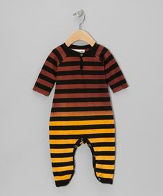 Take a look at this Brown & Yellow Stripe Playsuit - Infant by Shampoodle on #zulily today!