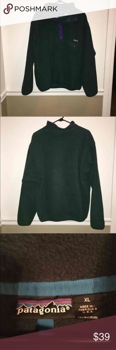 Women's Patagonia fleece This is a forest green and purple fleece. Free of stains and rips. Good used condition. Perfect for the colder months ahead! Patagonia Jackets & Coats