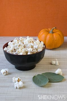 Brown Butter Sage Popcorn, Pumpkin Apple Caramel Corn, and Gingerbread Popcorn