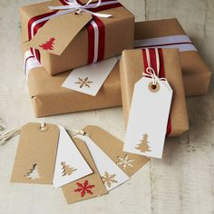 I love using brown paper for wrapping. It is the best for the gifts that you have to transport. Christmas Gift Tags