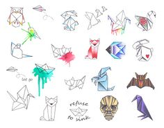 origami tattoo - Google Search
