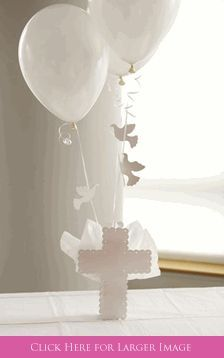 Cross Balloon Centerpieces with Doves. Set To Celebrate with Baptism Balloon Centerpieces, Christening Balloons, Communion Cross Centerpieces, Baptism Table Decorations Decoration Communion, Communion Centerpieces, Balloon Centerpieces, Balloon Decorations, Balloon Ideas, Boy Baptism Centerpieces, Masquerade Centerpieces, Shower Centerpieces, Wedding Centerpieces