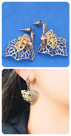Drop Earrings    Oxidised Sterling Silver, Natural Rhodolite Garnet, Gold Plated Elements    Modern Design