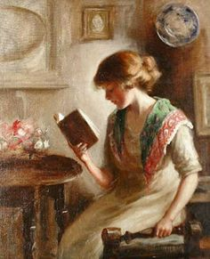 A Good Book. Mona H Bell (British, fl.1903-1920). A book is the only place in which you can examine a fragile thought without breaking it. – Edward P. Morgan