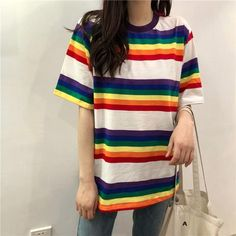 f931ca817f Chic Rainbow Colorful Stripe Tee sold by Violetlace Boutique. Shop more  products from Violetlace Boutique on Storenvy, the home of independent  small ...