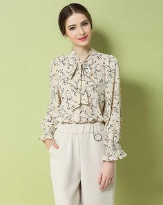 VIPme (VIPSHOP Global) - GUSTAVO ARANGO Beige Floral Spring/Fall Turtleneck Floral Sweet Shirts - AdoreWe.com