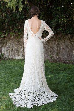 Vestido bohemio lumbar boda. Vestido de encaje de ganchillo. Mangas largas. Train. Vintage Inspired vestido de novia Boho. Espal