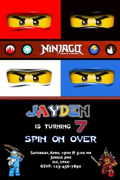 Ninjago Birthday Invitation - Printable Ninjago Birthday Party Invitation - Customizable - 7