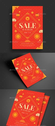 Chinese New Year Sale Flyer Flyer Design, Layout Design, Print Design, Web Design, Graphic Design, Chinese New Year Greeting, New Year Greetings, Chines New Year, Festival Flyer