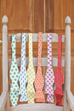 I've had my eye out for YEARS (I kid you not!) for good bow ties.  They're harder to find than you'd think!  Just ran across this pin today though:  Ties by Southern Proper (http://www.southernproper.com/).  <3 them.  (The actual photo is from a wedding...)