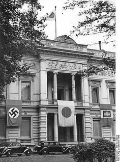 The flags of Nazi Germany, Japan and the Kingdom of Italy on the Japanese Embassy in Berlin, September 1940 Nagasaki, Hiroshima, Pearl Harbor, Neue Wache, History Of Germany, Kingdom Of Italy, Kaiser Wilhelm, Germany And Italy, The Third Reich