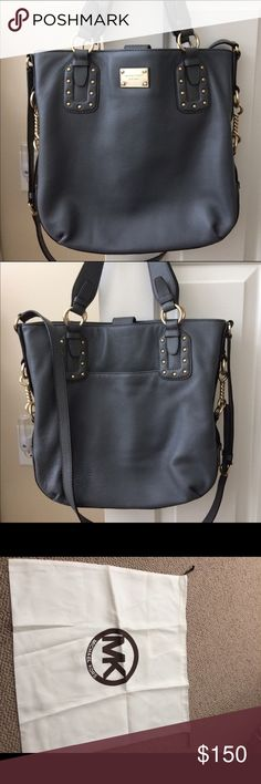 Michael Kors Studded Bag Beautiful slate gray MK bag. Can be worn on hip, shoulder, or held by shorter straps.  Used once. Excellent condition. Great travel, work, or running errands in style bag. Michael Kors Bags