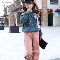 f2e0d9bf6343 Children girls clothing set 2018 spring floral teenage girls casual suit  cotton and linen kids clothes tracksuit girls clothes