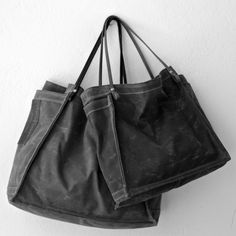 waxed cotton farmers market tote set