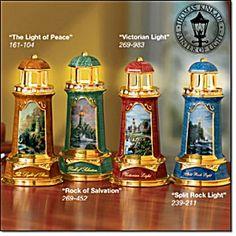 Thomas Kinkade Lighthouse Figurines   SET OF 4 - THOMAS KINKADE LIGHTHOUSES (Image1)
